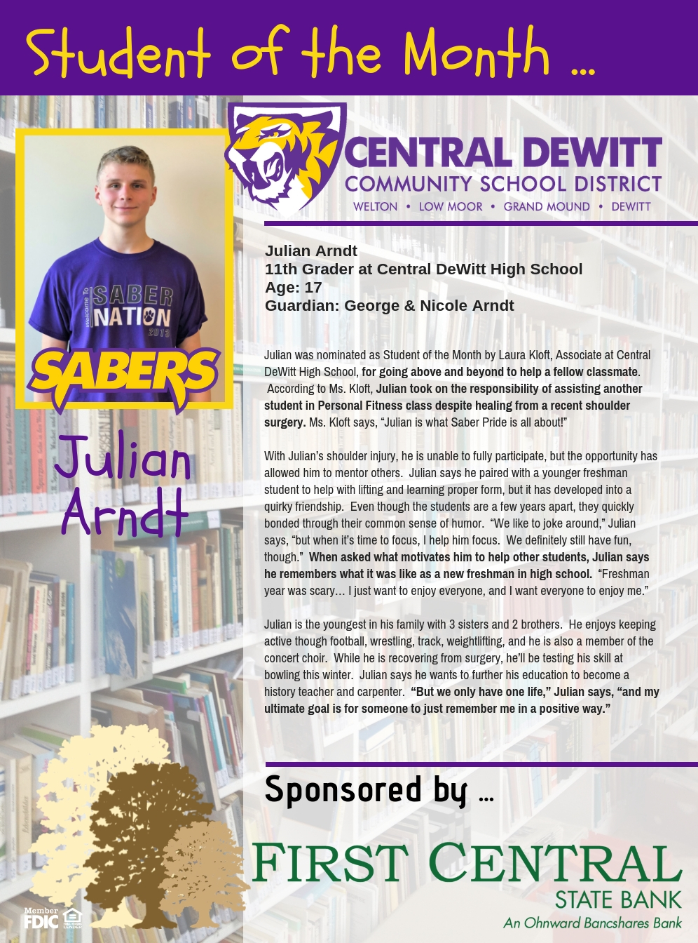 Julian Arndt recognized as Student of the Month