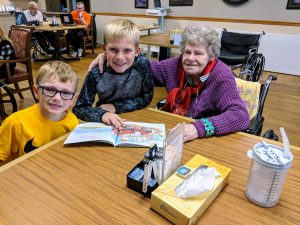 2nd graders pictured with resident