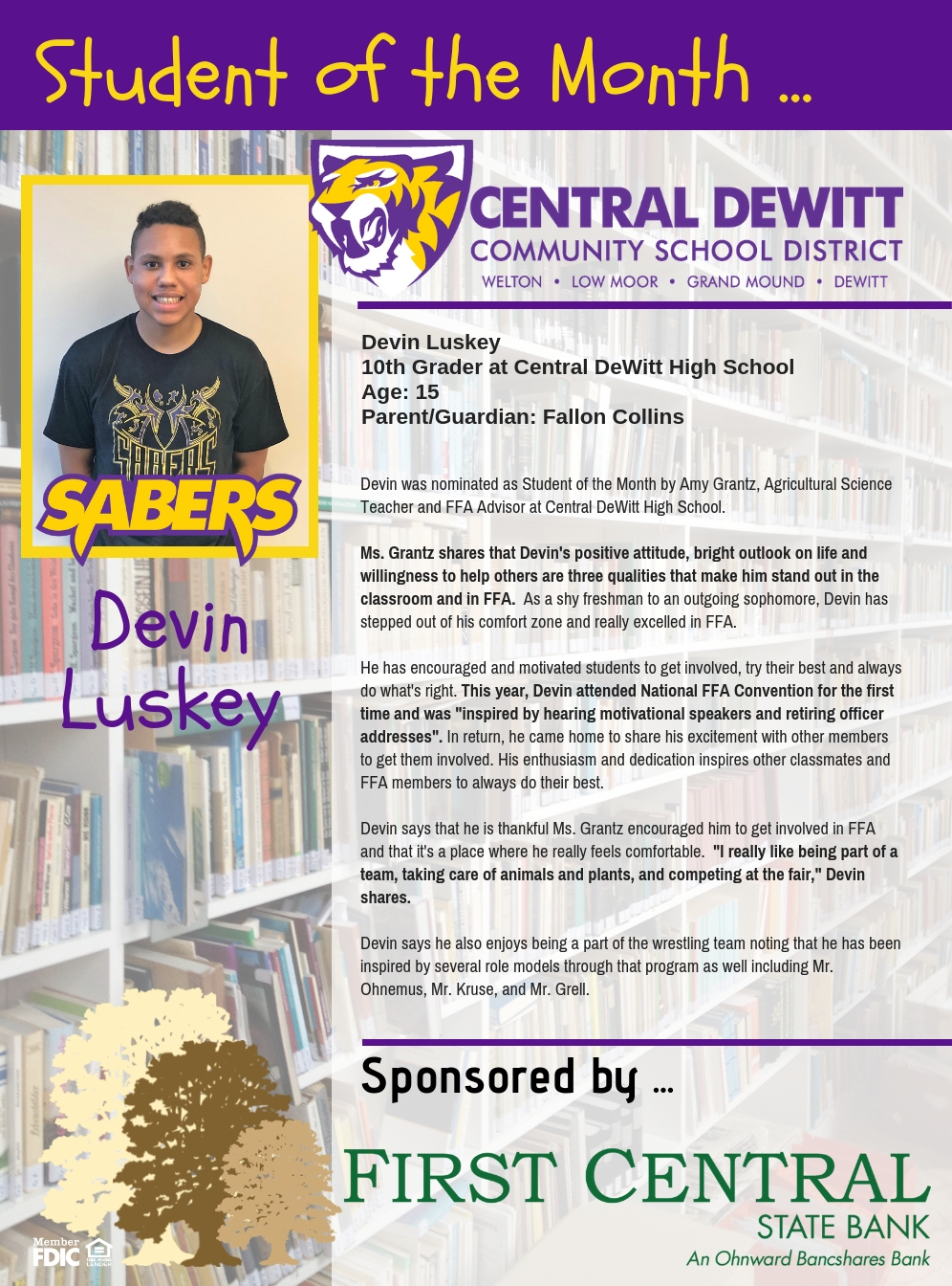 Devin Luskey recognized as student of the month