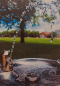 """Grace Pfiefle, """"Drink Up"""", Photography, Gold Key image of water fountain"""