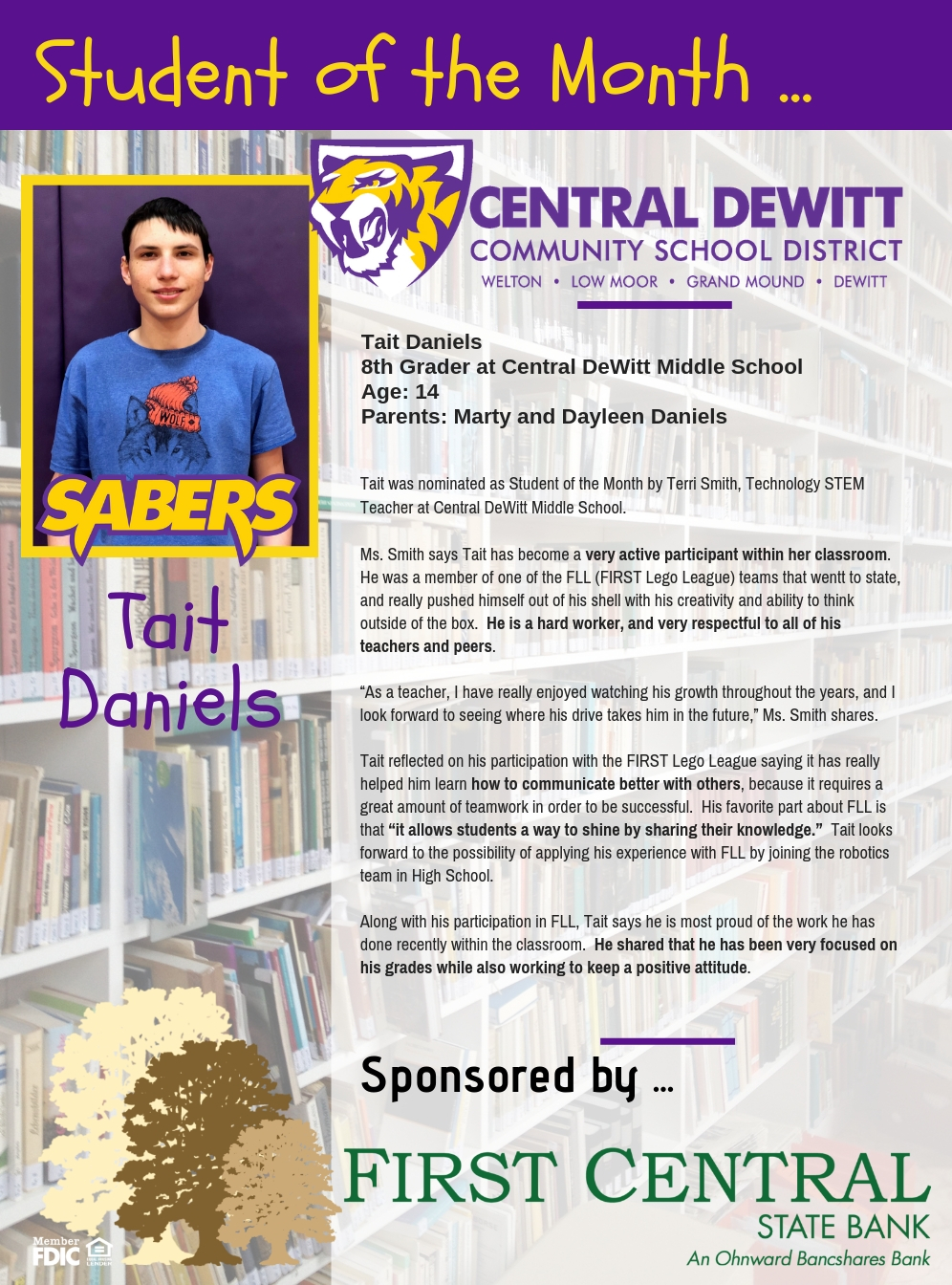 Tait Daniels recognized as student of the month