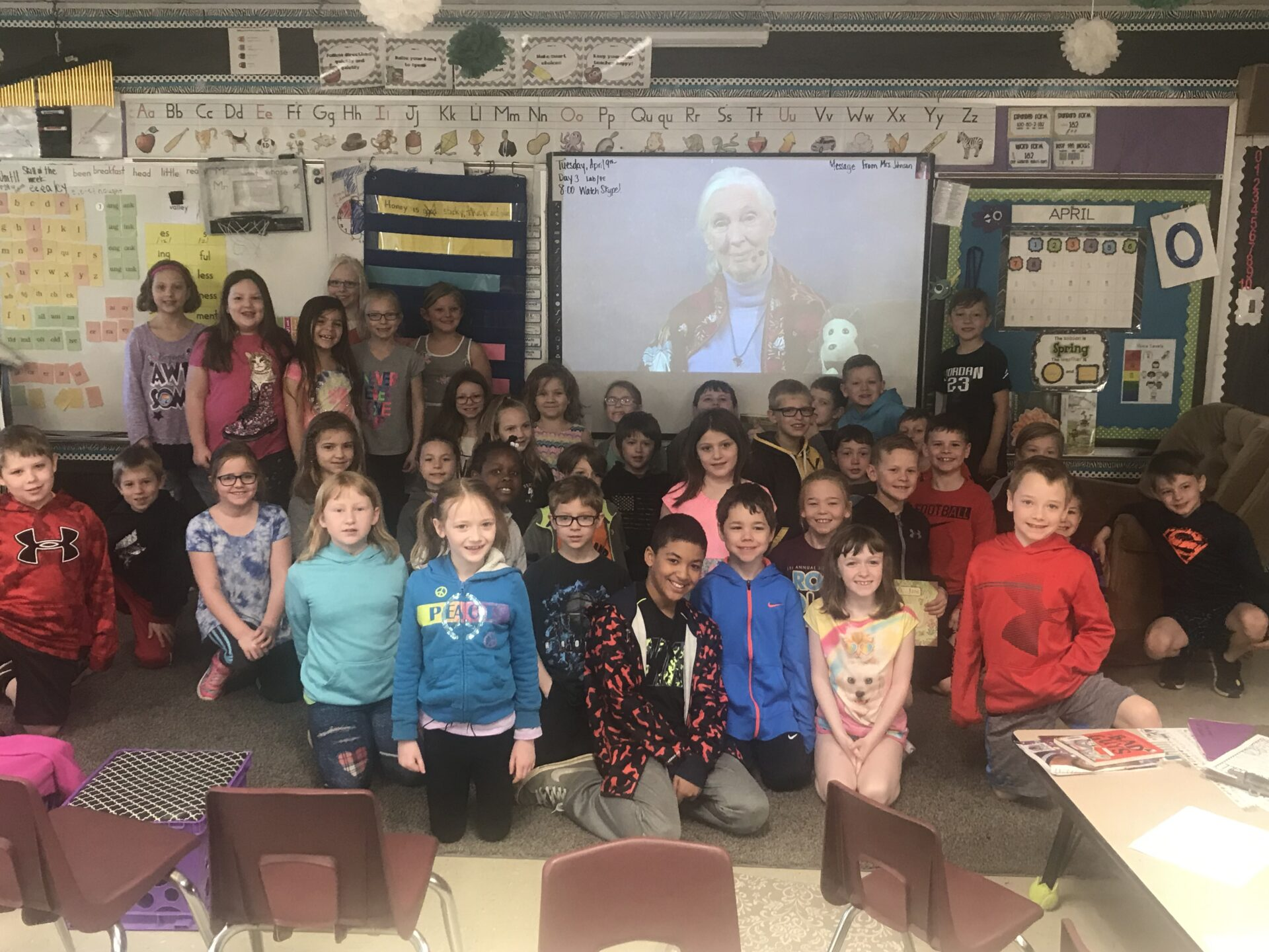 2nd Graders Skype with Dr. Jane Goodall