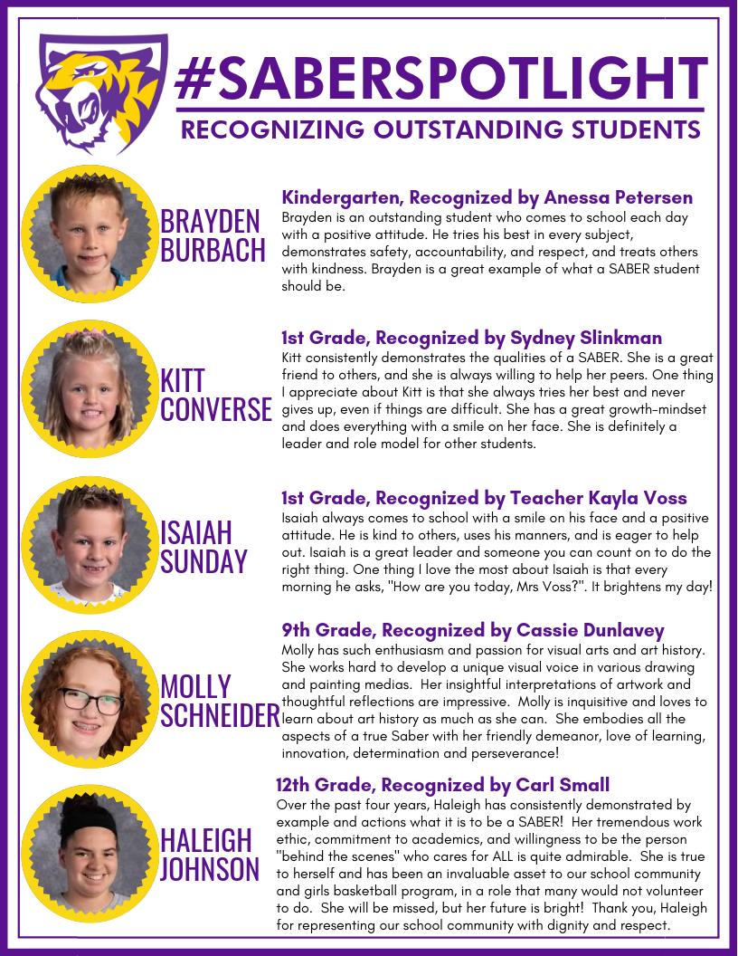 Students recognized in the Saber Spotlight Article