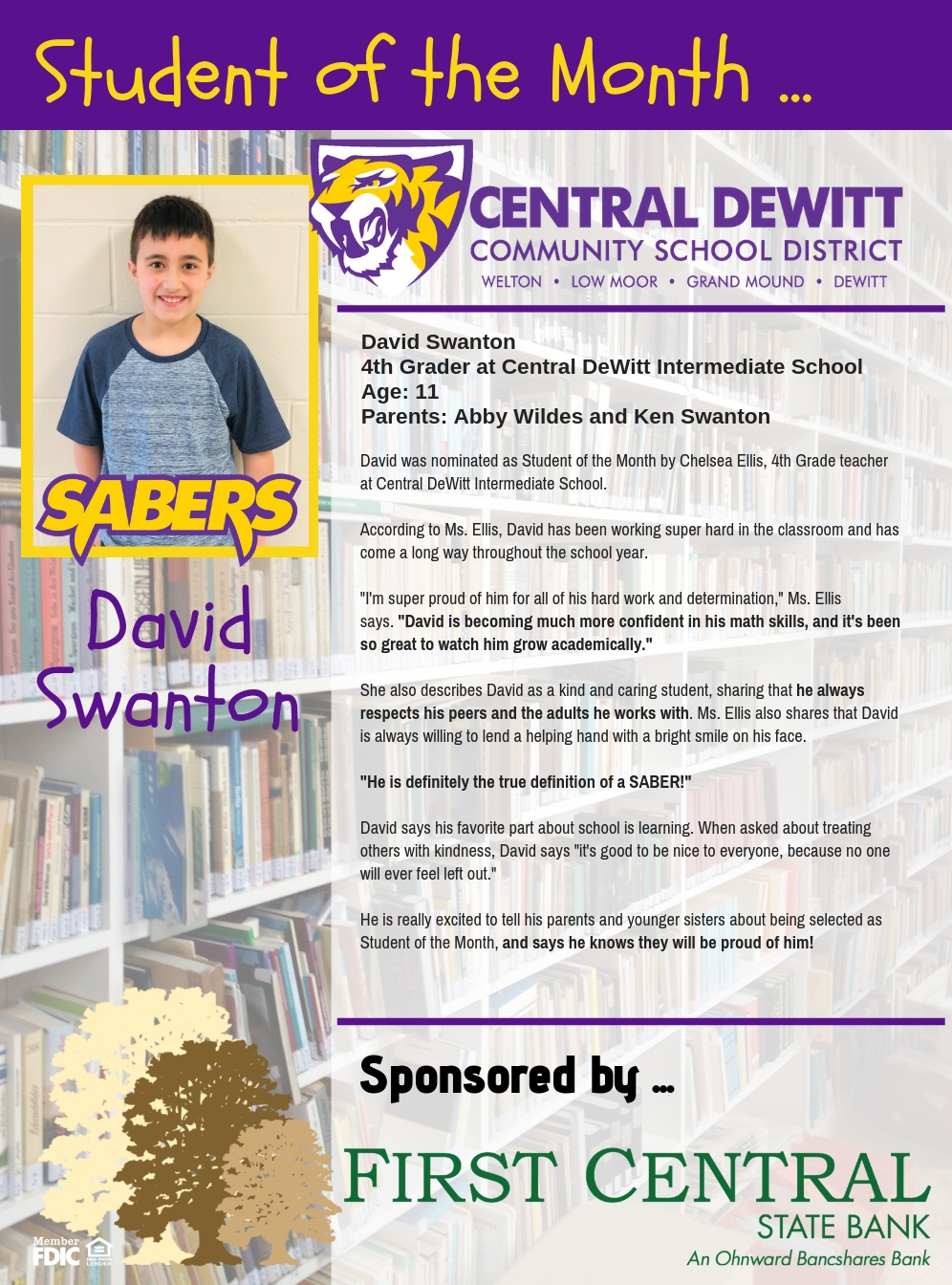 Student of the Month, David Swanton
